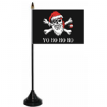 Pirate Christmas Yo Ho Ho Desk / Table Flag with plastic stand and base